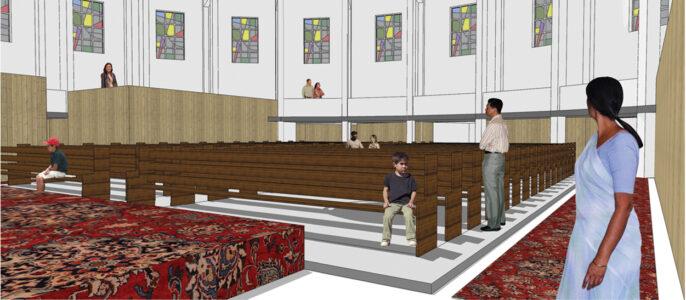 Impressie interieur kerk